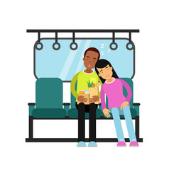young man and woman sleeping in the train cartoon vector image