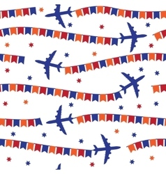 Airplane with colorful flags seamless pattern vector image