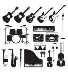 Music instruments silhouette objects set vector