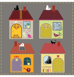 Set of four decorative houses vector image