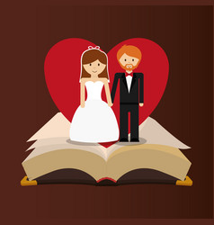 Get married couple bible heart card vector
