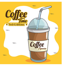 frappe and cold drink coffee vector image