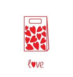 Love paper bag with hearts inside card vector