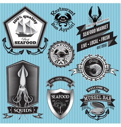 Set of labels on the topic seafood vector