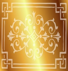 Gold Background Design with Floral Border vector image