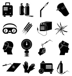 Welding work icons set vector