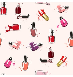 Seamless pattern hand drawing with nail polish vector