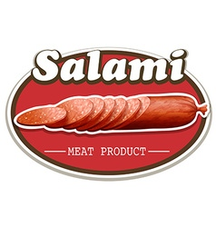 Salami food label on white vector