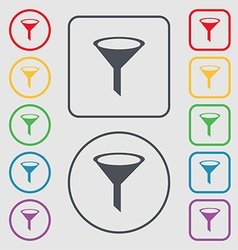 Funnel icon sign symbols on the round and square vector