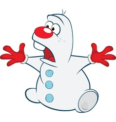 Cute snowman cartoon character vector