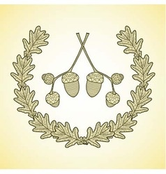 Wreath of graphic oak leaves and acorn branches vector