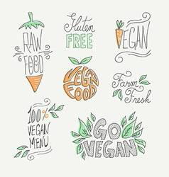 Vegan and raw food handmade labels set vector