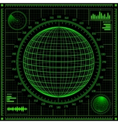 Radar screen with futuristic user interface hud vector