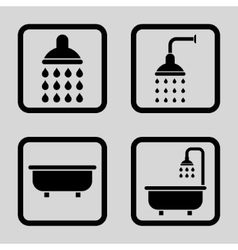 Bath shower flat squared icon vector