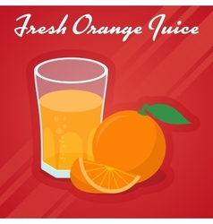 Juice in a glass and cuts sweet orange vector