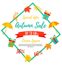 autumn sale background fall sale autumn offer vector image vector image