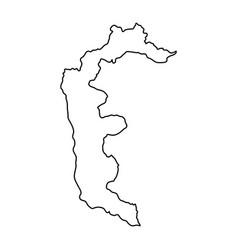 Azad kashmir map of black contour curves on white vector