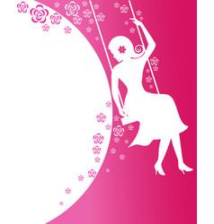 Beautiful women sit on flower swing on pink vector