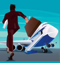 Businessman in a hurry for the passenger plane vector