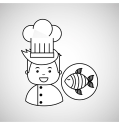 cartoon chef gourmet fresh fish vector image