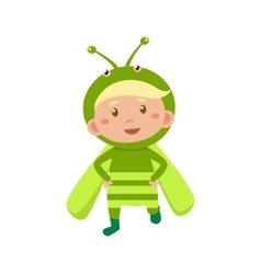 Child wearing costume of grasshopper vector