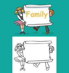 children and sheet paper with inscription family vector image vector image