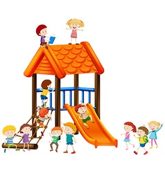 Children playing on slide vector image