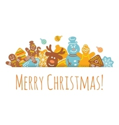Christmas background gingerbread cookies vector