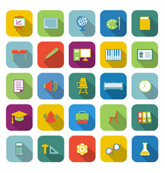 Classroom color icons with long shadow vector