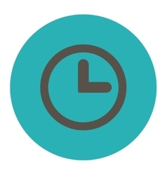 Clock flat grey and cyan colors round button vector