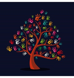 Colorful multi-ethnic hand prints tree vector image