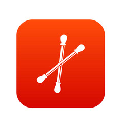 Cotton buds icon digital red vector