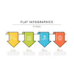 flat style 4 steps timeline infographic template vector image vector image