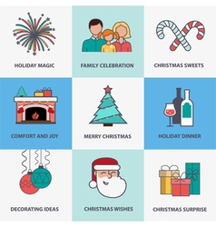 Flat style christmas icons vector