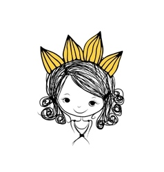 Girls princess with crown on head for your design vector