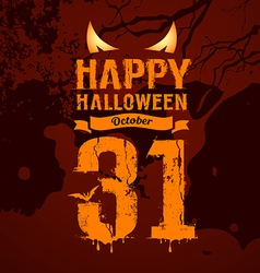 Happy halloween orange message and eyes vector image