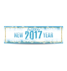 Happy new year 2017 banner golden frame and vector