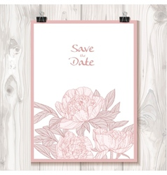 Invitation with peonies hanging on binder on a vector image