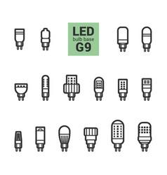led light g9 bulbs outline icon set vector image