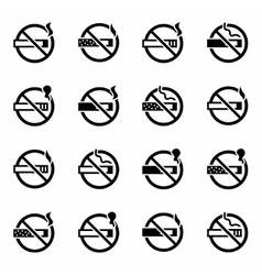 No smoking icon set vector image vector image