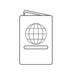 Passport identication document travel thin line vector