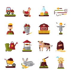 Peasant farm household flat icons collection vector