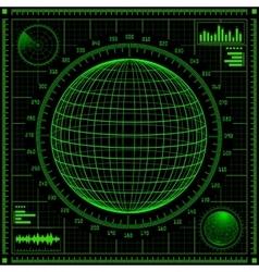 Radar screen with futuristic user interface hud vector