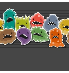 Seamless pattern with little angry viruses and vector image