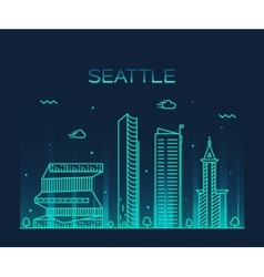 Seattle skyline trendy linear vector
