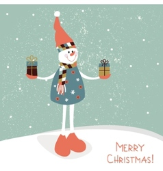 Snowman with gifts vector image