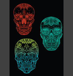 Sugar skull set 1 vector image