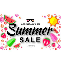 Summer sale template horizontal flat paper banner vector