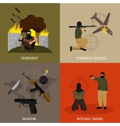 Terrorism icon flat set vector