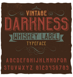 vintage darkness whiskey poster vector image vector image